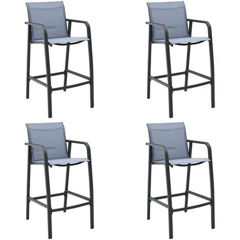 Garden Bar Chairs 4 pcs Grey Textilene - Grey