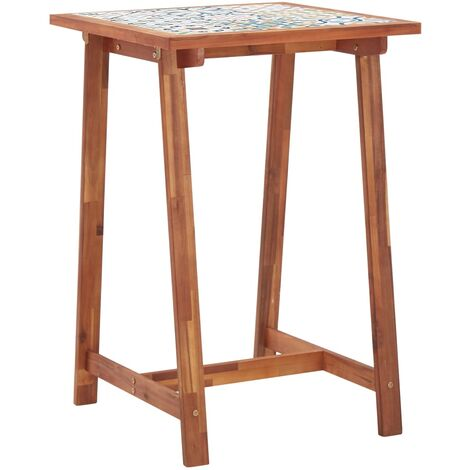 Garden Bar Table 70x70x105 cm Tile Top and Solid Acacia Wood