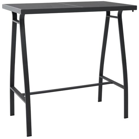Garden Bar Table Black 110x60x110 cm Tempered Glass
