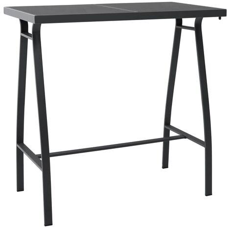 Garden Bar Table Black 110x60x110 cm Tempered Glass - Black