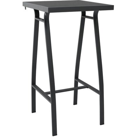 Garden Bar Table Black 60x60x110 cm Tempered Glass