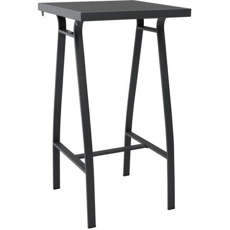 Garden Bar Table Black 60x60x110 cm Tempered Glass - Black