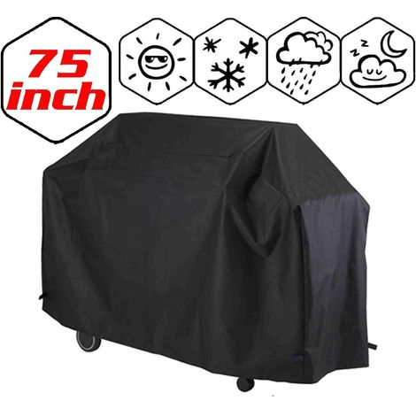 Garden BBQ Cover Barbecue Protector Outdoor Burner Grill Dust Rain Cover Heavy Duty, Waterproof, UV Repellent, Double Stitching, Elastic Hem Cord, Weather Protective for Gas Electric Charcoal Grill - 190x71x117cm