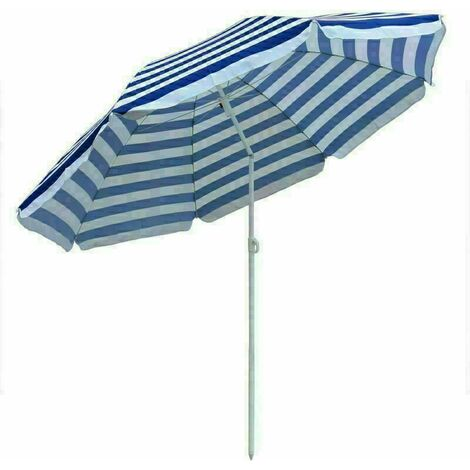 Garden Beach Blue-White Parasol Outdoor Patio Sun Shade Tilting Umbrella 180cm