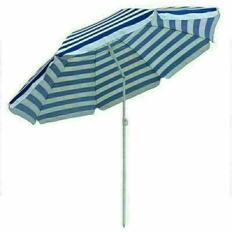 Garden Beach Blue-White Parasol Outdoor Patio Sun Shade Tilting Umbrella 180cm