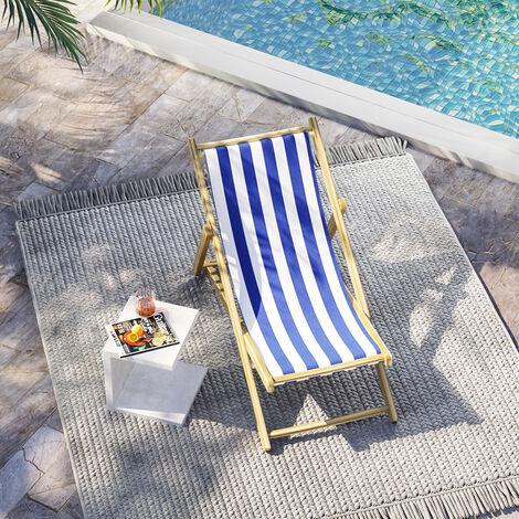 Garden Beach Seaside Sun Lounger Folding Chair, Blue