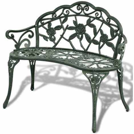 Garden Bench 100 cm Cast Aluminium Green