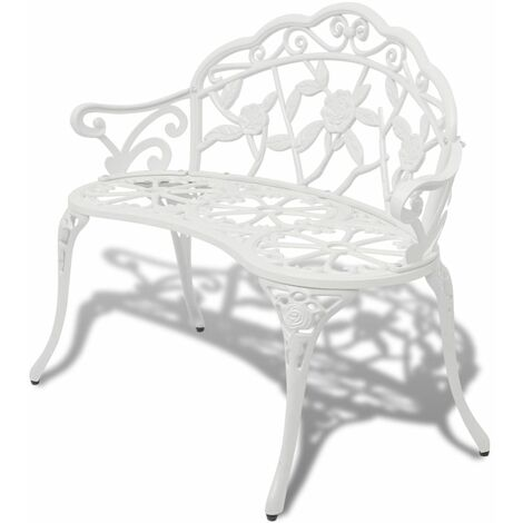 Garden Bench 100 cm Cast Aluminium White