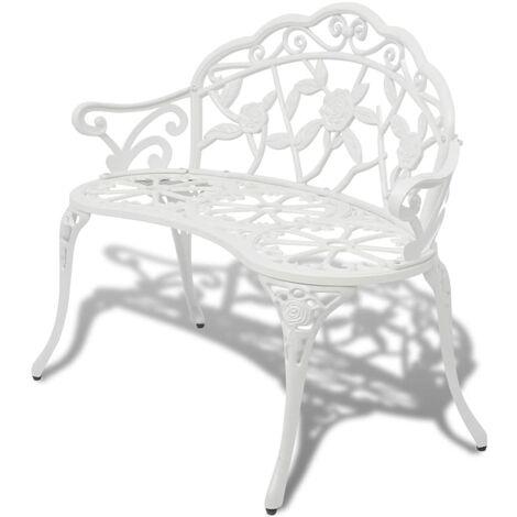 Garden Bench 100 cm Cast Aluminium White - White