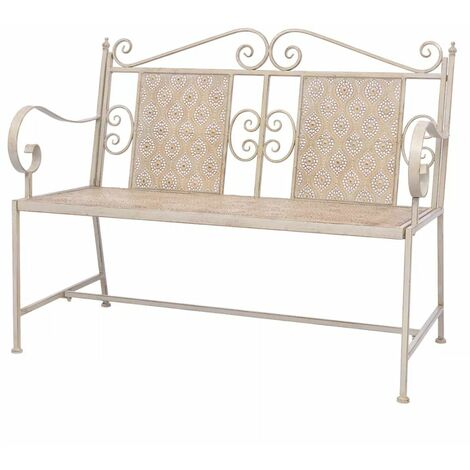 Garden Bench 115 cm Steel White