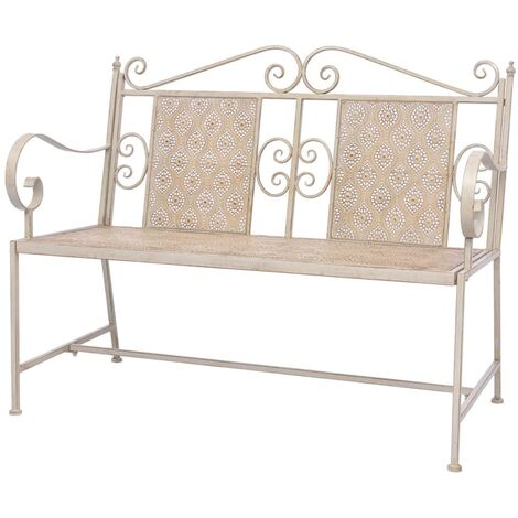Garden Bench 115 cm Steel White - White
