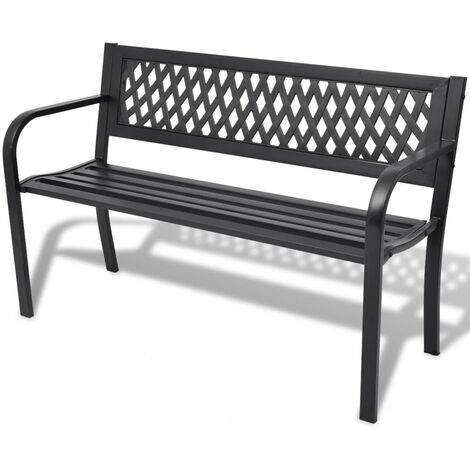 Garden Bench 118 cm Steel Black