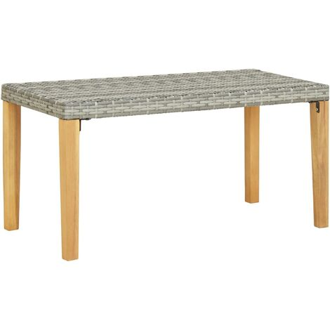 Garden Bench 120 cm Grey Poly Rattan and Solid Acacia Wood