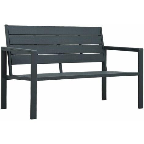 Garden Bench 120 cm HDPE Grey Wood Look
