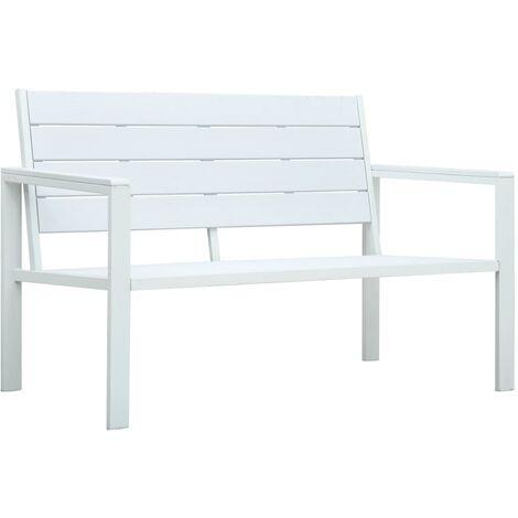 Garden Bench 120 cm HDPE White Wood Look