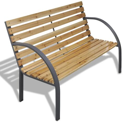 Garden Bench 120 cm Wood and Iron - Brown