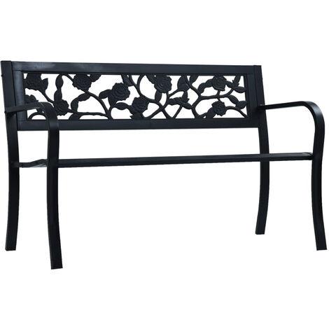 Garden Bench 125 cm Black Steel