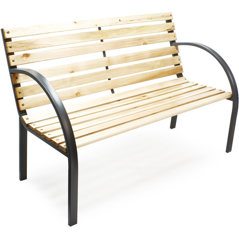 "Garden bench ""Anne"" wood and steel park design park seat two-seater outdoor"