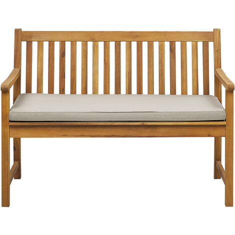 Garden Bench Certified Acacia Wood 120 cm with Beige Cushion VIVARA
