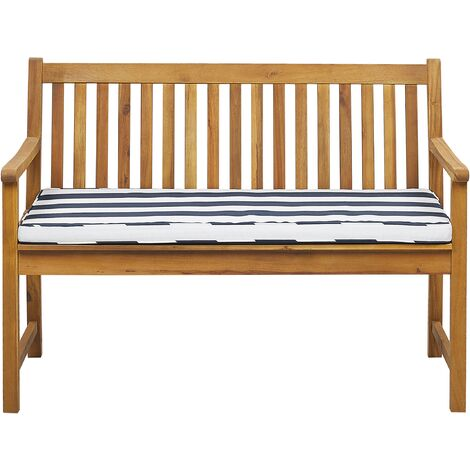 Garden Bench Certified Acacia Wood 120 cm with Blue Cushion VIVARA
