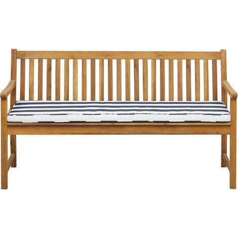 Garden Bench Certified Acacia Wood 160 cm with Blue Cushion VIVARA