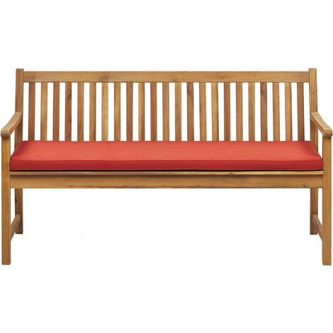 Garden Bench Certified Acacia Wood 160 cm with Red Cushion VIVARA
