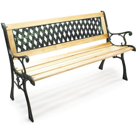 "Garden bench ""Inge"" wood cast iron in lattice pattern park seat garden two-seater outdoor"