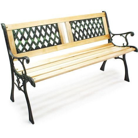 "Garden bench ""Juliane"" wood and cast iron two-part lattice-patterned two-seater outdoor"