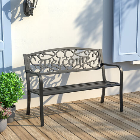 Garden bench - metal bench, metal garden bench, outdoor bench, park chair - black