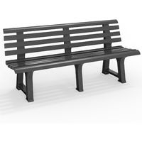 Garden Bench Orchidea 3 Seater Outdoor Plastic Weatherproof Anthracite