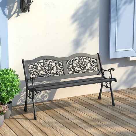 "main image of ""Garden bench - outdoor bench, wooden garden bench, metal bench - black"""