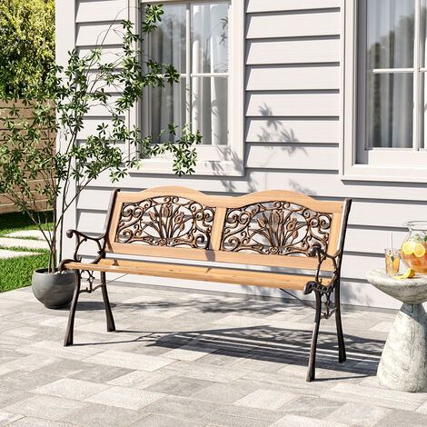 Garden bench - outdoor bench, wooden garden bench, metal bench - brown
