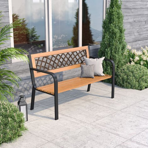 Garden Bench Outdoor Wooden 3 Seater Cross Lattice and Slat Style