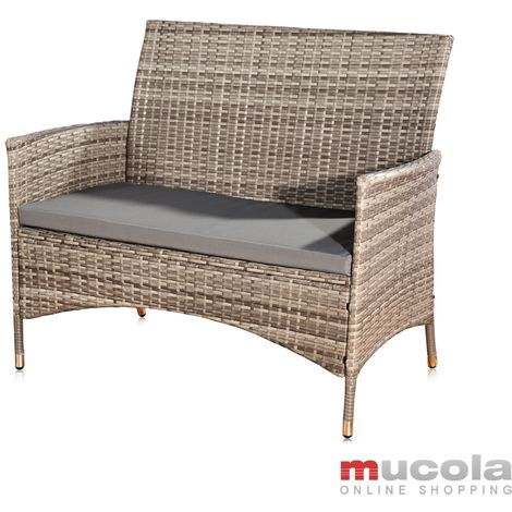 Garden bench Polyrattan grey with seat upholstery Bench Rattan bench Seat cover