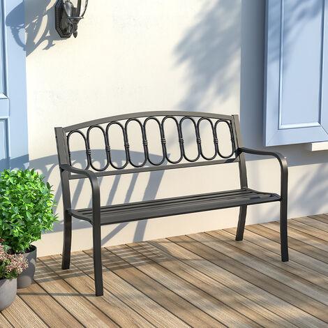 Garden Bench Porch Chair Furniture Patio Park Loveseat Cast Iron Metal Outdoor Bench Black