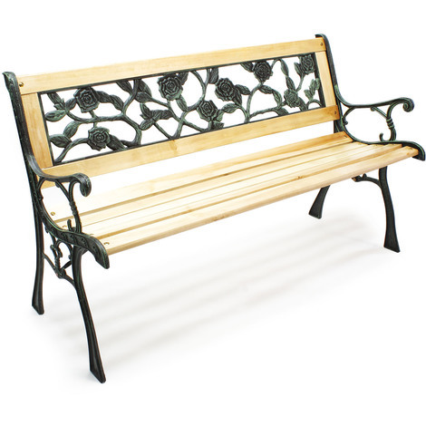 "Garden bench ""Rosi"" wood cast iron rose-flowered design park seat two-seater outdoor"