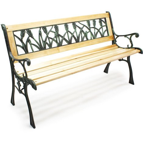"""Garden bench """"Ulrike"""" wood and cast iron tulip design park seat two-seater outdoor"""