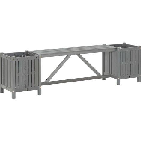Garden Bench with 2 Planters 150cm Solid Acacia Wood Grey