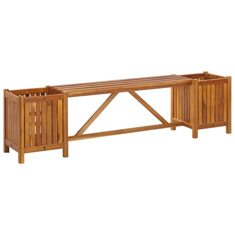 Garden Bench with 2 Planters 150x30x40 cm Solid Acacia Wood - Brown