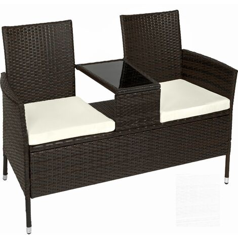 Garden bench with table poly rattan - love seat, patio set, garden set