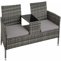 Garden bench with table poly rattan - love seat, patio set, garden set