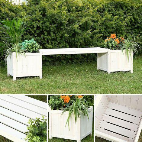 Garden Bench Wood bench White 2in1 Flower box 2 flower tubs Wood Garden furniture
