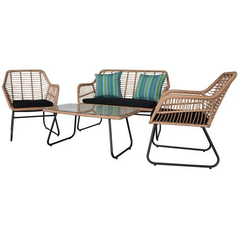 Garden Bistro Set Handwoven Wicker Rattan Set Patio Chair Glass Top Coffee Table