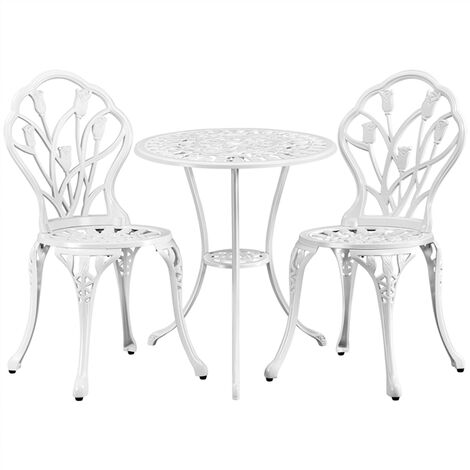 """main image of """"Garden Bistro Set Round Aluminum Patio Table with 2 Chairs - Outdoor Garden Furniture Set"""""""