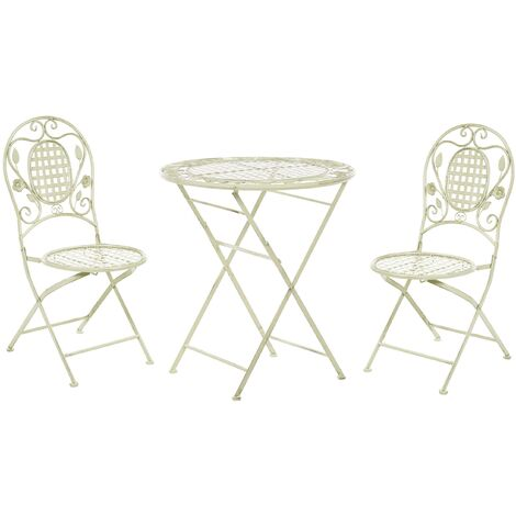 """main image of """"Garden Bistro Set Table 2 Chairs Foldable Distressed Metal Light Green Bovio"""""""
