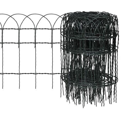 Garden Border Fence Powder-coated Iron 10x0.4 m - Green