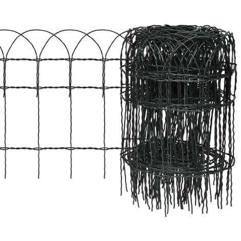 Garden Border Fence Powder-coated Iron 25x0.4 m - Green