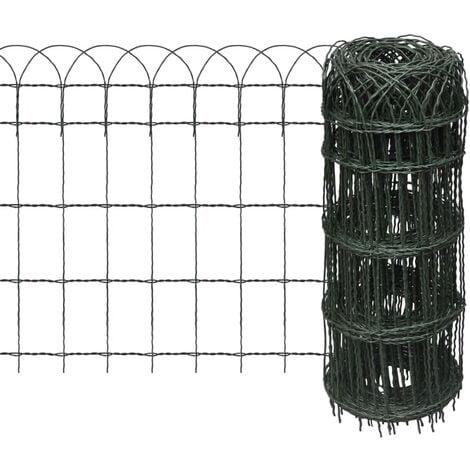 Garden Border Fence Powder-coated Iron 25x0.65 m - Green
