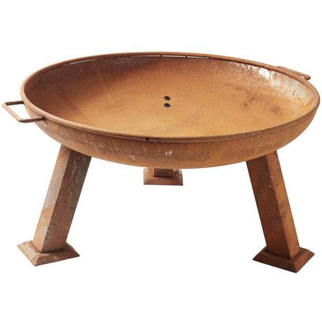 Garden Brazier Charcoal Fire Pit Wood Burner/Heater Bowl - 74cm (Rust-Coloured)