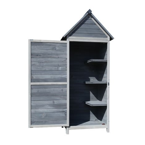 Garden Cabinet/ Tool Shed made of Wood, 77x53x179cm with Wing Door and Saddle Roof